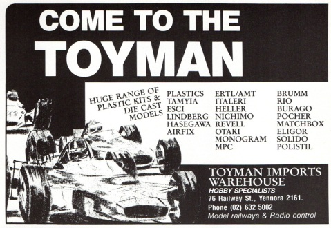 Yennora Hobbies ad in Australian Car Modeller, No.2 1986