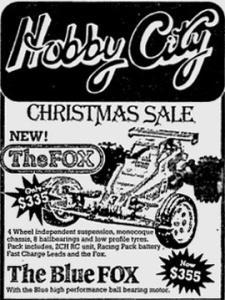 Hobby City Sydney advertisement for the Tamiya Fox, December 15, 1985